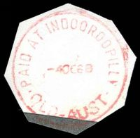 Lot 1525:Indooroopilly: - 'PAID AT INDOOROOPILLY/4OC68/QLD-AUST' (LRD) in red (cut-to-shape).  RO 23/9/1974; PO 1/8/1875.
