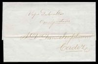 Lot 3826:1869 use of stampless entire to Cadiz.