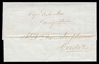 Lot 22000:1869 use of stampless entire to Cadiz.