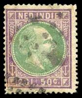 Lot 22327:1870-88 William III Perf 14 Small Holes SG #7 2g50 green & purple, Cat £18.