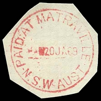 Lot 1390:Matraville: - 'PAID AT MATRAVILLE/--?20JA69/N.S.W-AUST' in red (cut-to-shape).  PO 15/12/1910; TO 28/2/1915; PO 26/7/1920.