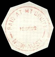 Lot 918:Mount Druitt: - 'PAID AT MT DRUITT/12SE68/NSW-AUST' in red (cut-to-shape).  PO 16/3/1892.