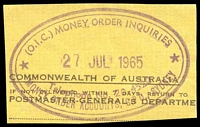 Lot 6990:Sydney: - violet double-oval '(O.I.C.) MONEY ORDER INQUIRIES/27JUL1965/Telephone No.20-4520/MONEY ORDER ACCOUNTS, G.P.O. SYDNEY'.  PO 25/4/1809.