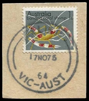 Lot 10349:3rd Asian Oceanic Postal Union Congress: 'RELIEF/17NO75/64/VIC-AUST' on 1c.  PO 17/11/1975; closed 18/11/1975.