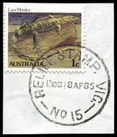 Lot 13891:Market Street: - 'RELIEF STAMP. VIC./12NOON18AP86/NO 15' (first day) on 1c. [Used 18/4/1985-24/4/1985]  Renamed from Customs House PO c.-/1/1884; replaced by Collins Street West PO 21/11/1997.