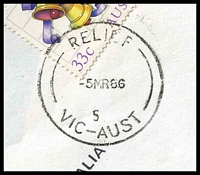 Lot 2599 [2 of 2]:Morang South (1): 'RELIEF/5MR86/5/VIC-AUST' (converted '55') on 33c Xmas. [Used 15/11/1985-11/4/1986.]  PO 24/11/1873; LPO 29/10/1993.
