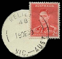 Lot 3346:48: 'RELIEF/48/19DE39/VIC.-AUST.' on 2d red KGVI (cut-to-shape). [Rated 3P]