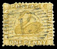 Lot 15572:13: on 1d bistre.  Allocated to Pinjarra-PO 1/1/1856.