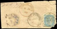 Lot 23952:152: 'JOUDPOOR/? - 152' (type 9III) on ½a on small piece with blue hexagonal 'AJMERE/7JU' (B2) and red 'KOOCHAWAN