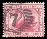 Lot 3134:7: on 1890 1d carmine.  Allocated to Northam-PO 23/4/1847.