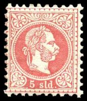 Lot 19742:1867-73 Franz Josef Coarse Type SG #3 5s carmine, Cat £275, re-gummed.