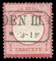 Lot 22523:1872 Large Shield 1gr carmine, Mi #19.