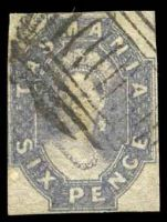 Lot 2213:1860-67 Imperf Chalon Wmk Double-Lined Numeral SG #48 6d slate-violet, 4 close or just touching margins, Cat £55.