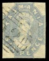 Lot 2211:1860-67 Imperf Chalon Wmk Double-Lined Numeral SG #45 6d grey, 4 close or just touching margins, Cat £70, crease not apparent from face.