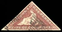 Lot 20578:1855-63 Perkins Bacon Triangles SG #5 1d brick-red 3 even margins, Cat £900, tear through left of stamp excellently repaired.