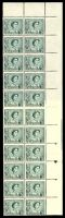 Lot 571:1959-66 QEII Definitives BW #350zb 3d Green Ordinary paper, part plate 3 (35mm lines above) coil perf right side block of 32 (2x16), Cat $300+.