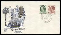 Lot 477:WCS 1963 Royal Visit 5d & 2/3d tied to gold, dark blue & light blue FDC with Clarence St, Sydney FDoI, unaddressed.