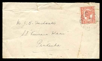 "Lot 4216:1911 use of Qld 1d from Brisbane to JB Freshwater. SS ""Kumano Maru"", Pinkemba, opened a little roughly, light Pinkemba backstamp. [Freshwater Correspondence]"