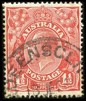Lot 794:1½d Red Die II - BW #91(4)fa [4L47] Type B re-entry Duplicated shading behind Roo, Cat $75.