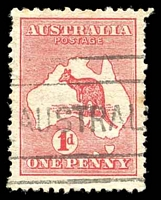 Lot 117:1d Red Die II BW #3(E)d [EL25] 'Extra Island' (Two Tasmanias), Cat $75, small tear.