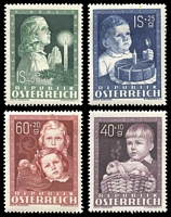 Lot 3232:1949 Child Welfare SG #1162-5 set of 4, Cat £80, couple of very minor faults.