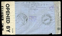 "Lot 3163 [2 of 2]:1944 use of 400r & 5000r, cancelled with double-circle '4AS-COLETA-M/24/ABR/44/BRASIL-D.FEDERAL' on air cover to River Plate House London and then redirected to HMS Marne, endorsed ""Por Aviao/Via Natal"", sealed at left with Brazilian censor tape and at right with English censor tape. [River Plate House was an undercover address for South American volunteers serving with British forces.]"