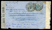 "Lot 3163 [1 of 2]:1944 use of 400r & 5000r, cancelled with double-circle '4AS-COLETA-M/24/ABR/44/BRASIL-D.FEDERAL' on air cover to River Plate House London and then redirected to HMS Marne, endorsed ""Por Aviao/Via Natal"", sealed at left with Brazilian censor tape and at right with English censor tape. [River Plate House was an undercover address for South American volunteers serving with British forces.]"