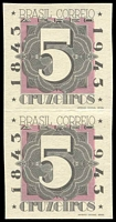 Lot 3162:1943 Stamp Centenary 5cr black & pink imperf pair from M/S.