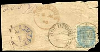 Lot 4174:152: 'JOUDPOOR/? - 152' (type 9III) on ½a on small piece with blue hexagonal 'AJMERE/7JU' (B2) and red 'KOOCHAWAN