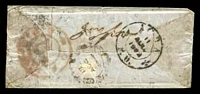 Lot 3878 [2 of 3]:1: 'B/1' type 7 on East India ½a, red double-circle 'CAL/?/G.P.O.' (C1), double-circle 'AG