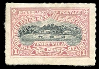 Lot 3953:1897 Australasian New Hebrides Company: 1d mauve & black, stuck-down.