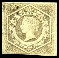 Lot 682:1854-59 Imperf Large Diadems Wmk Double-Lined Numeral SG #96a 6d greyish brown Wmk 8, 4 margins, Cat £110, thin.