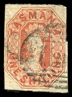 Lot 1739:1858 Imperf Chalon Wmk Double-Lined Numeral SG #41 1/- vermilion, four clear margins, Cat £75.