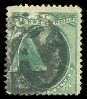 Lot 26127:A: clear 'A' in black circle on 1870 3c green.