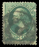 Lot 26128:C: clear 'C' in black circle on 1870 3c green.