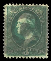 Lot 26129:C: clear 'C' in black circle on 1870 3c green.