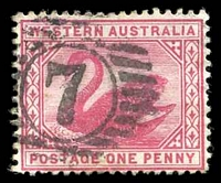Lot 17751:7: on 1890 1d carmine.  Allocated to Northam-PO 23/4/1847.
