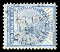 Lot 2925:Richmond (2): - WWW #2010 unframed 'M_O[_&]S_B/OC19/91/RICHMOND' on 6d blue Stamp Duty. [Rated 4P, recorded used 1891-2 only.]  PO 1/1/1858.