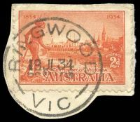 Lot 2927:Ringwood (1): - WWW #20B 'RINGWOOD/19JL34/VIC' (arcs 5½,6 - recut) on 2d Vic Centenary (cut-to-shape). [Recorded used 1933-35 only.]  PO 2/8/1875; renamed Ringwood Business Centre BC 8/5/1994.