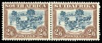 Lot 4441:1930-45 Rotogravure, Unhyphenated SG #49b 2/6d blue-green & brown pair, Cat £26.