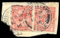 Lot 5482:English Camps 2 strikes of double-circle 'BOVINGTON CAMP/11.15AM/10NO/16/POOLE' on GB 1d red pair.