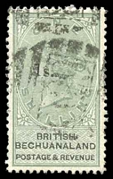 Lot 19286:1888 Surcharges SG #28 1s on 1/- green & black, Cat £85, cancelled with poor '638' of Mafeking, crease.