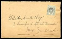 Lot 21395 [1 of 2]:Waiyevo: 'P.O. WAIYEVO/7/JAN/[28]/[FIJI]' on 2d grey KGV on cover to New Zealand. [Rated 500 by Proud]  PO 1/8/1910.