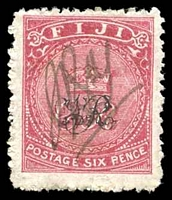 Lot 3442:1876-77 'VR' Underprint on Laid Paper SG #33a 6d carmine-rose, Cat £38, fiscal cancel.