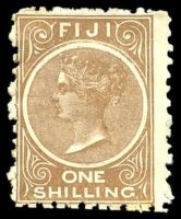 Lot 3425:1881-99 1/- Brown SG #64a deep brown shade P10, Cat £90.