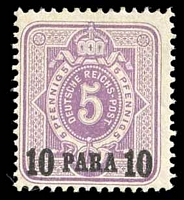 Lot 4100:1884 Mi #1a 10pa on 5pf lilac, Cat €70.