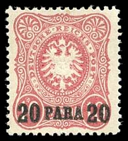Lot 3540:1884 Mi #2b 20pa on 10pf red, Cat €80.