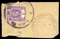 Lot 19983:Aranuka: poor violet double-circle 'GILBERT AND ELLICE ISLANDS COLONY/PO/ARANUKA/ SLANDS' (#11 - missing 'I' of 'ISLANDS') on 1d violet KGV on piece with Tarawa of 17AP/6 (1936).  PO c.1924.