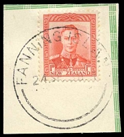 Lot 3550:Fanning Island: 'FANNING ISLAND/24SP38.1/-' on NZ 1d red KGVI on piece.  PO 29/11/1902.