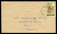 Lot 3552:Little Makin: 'MAKIN/6MAY70[?]/GI[LBERT]/&/ELLICE [ISLANDS]', on 2c Head Garland on cover to Betio.  PO c.1925.